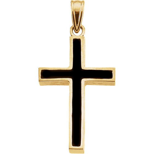 14kt Yellow Gold Cross with Black Epoxy 20x13mm