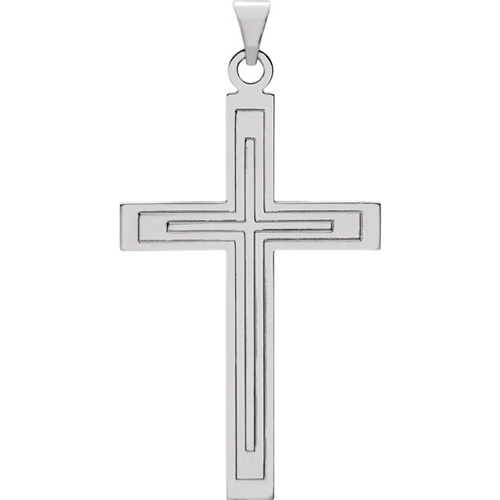 Cross Pendant 28x18mm - 14k White Gold