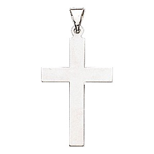 14kt White Gold 39x25mm Smooth Cross Pendant