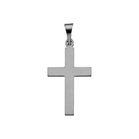 14kt White Gold Smooth Cross Pendant 18x12mm