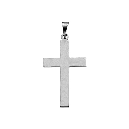 14kt White Gold Smooth Cross Pendant 22x14mm