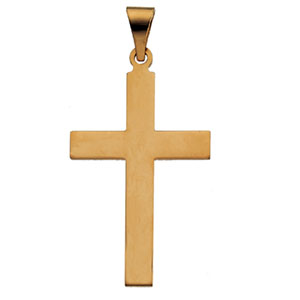 14kt Yellow Gold Smooth Cross 28x18mm