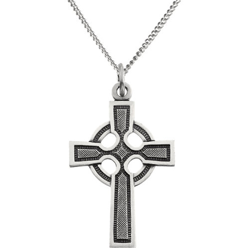 Sterling Silver 28x20mm Celtic Cross and 24in Curb Chain