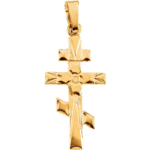 14kt Yellow Gold St. Andrew Cross 32x18mm