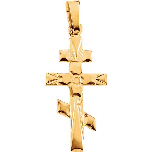 14kt Yellow Gold 3/4in St. Andrew Orthodox Cross Pendant