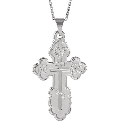 Sterling Silver 3/4in Orthodox Cross & 18in Chain