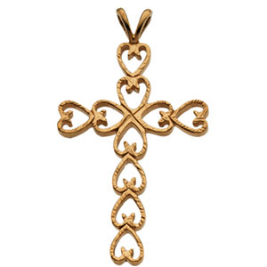 14kt Yellow Gold 1 1/8in Hearts Cross