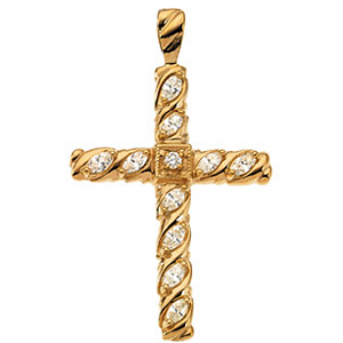 14K Gold Diamond Cross 35.5x25.5mm