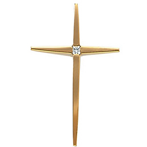 14kt Yellow Gold 1 1/8in Diamond Cross