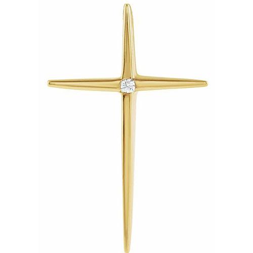 14k Yellow Gold Very Slender .03 ct Diamond Cross Pendant 1 1/8in