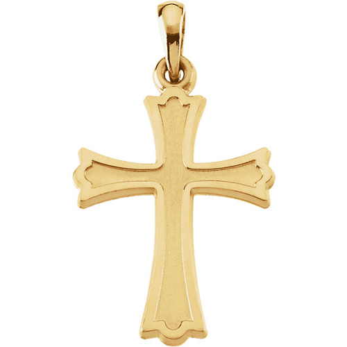 14kt Yellow Gold 7/8in Embossed Crusader Cross