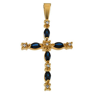 14kt Yellow Gold 1 1/5in Sapphire Cross with Diamonds