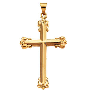 14kt Yellow Gold 1 3/8in Ornate Budded Cross