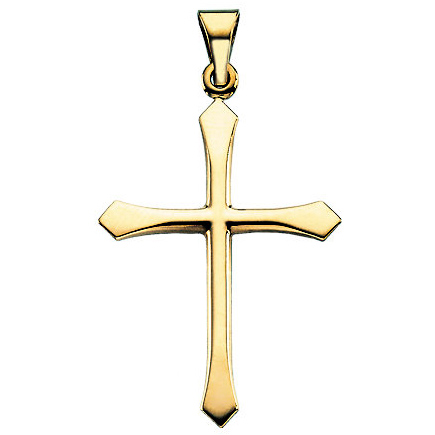 14kt Yellow Gold 1 1/8in Smooth Passion Cross