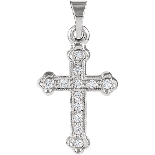 14k White Gold 1/8 ct Diamond Cross Pendant 5/8in