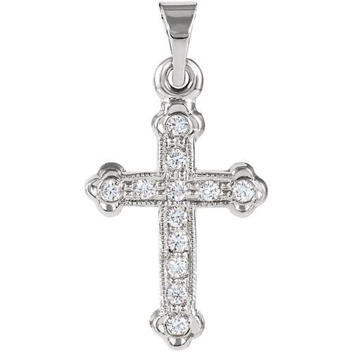 14kt White Gold 5/8in Diamond Cross
