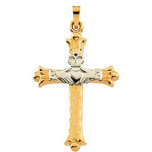Hollow Claddagh Cross 32.5x23.5mm - 14KTT Gold