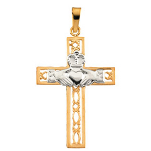 14kt Two Tone Gold 1in Trellis Claddagh Cross