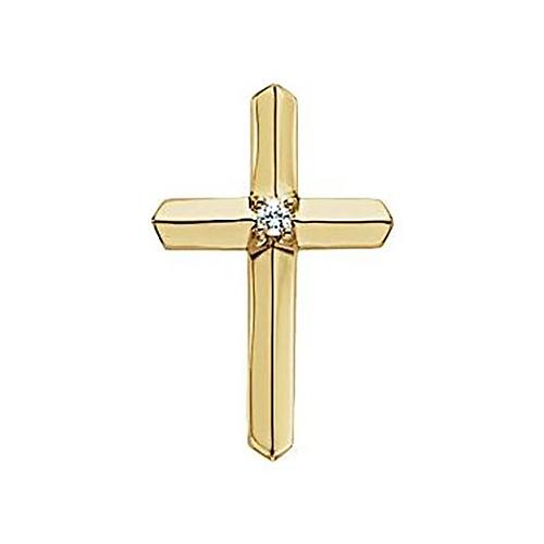 14k Yellow Gold .03 CT Diamond Cross Pendant 7/8in
