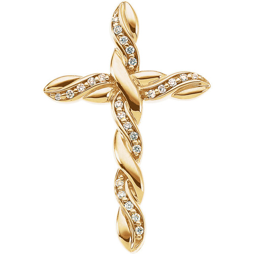 14kt Yellow Gold Large 1/4 ct Diamond Cross