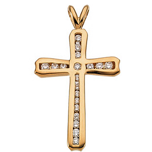 1/4 CT Diamond Cross 24x17mm - 14k Gold