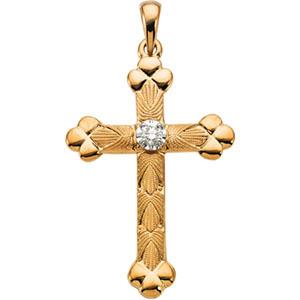 14K Gold Diamond Cross 32x22mm