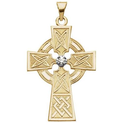 14K Gold Diamond Cross 33x23mm
