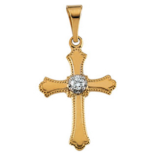 14kt Yellow Gold 5/8in Diamond Unity Pendant