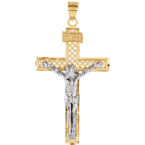 14kt Two Tone Gold 1 1/4in Screen Crucifix