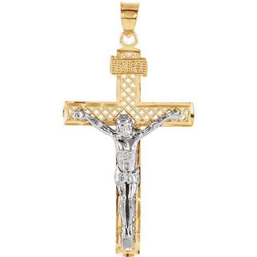 14kt Two Tone Gold 1 1/4in Screen Crucifix
