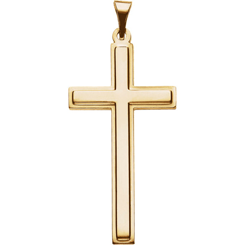 14KY Gold Cross Pendant 31.5x17mm