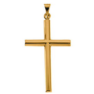 14kt Yellow Gold 1 1/4in Rounded Latin Cross Pendant