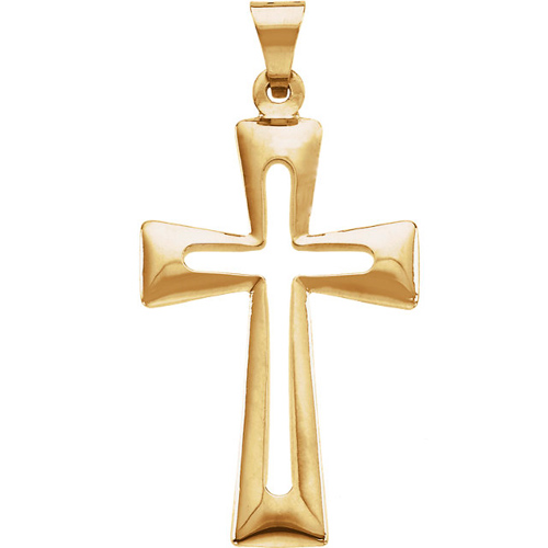 14k Yellow Gold 1in Hollow Outline Crusader Cross