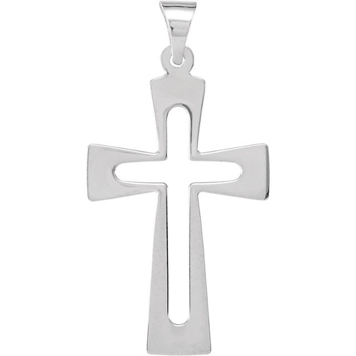 14kt White Gold 1in Flat Cut Out Crusader Cross