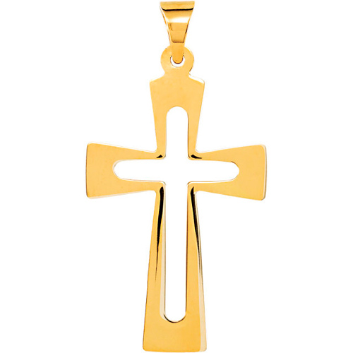 14kt Yellow Gold 1in Flat Cut Out Crusader Cross