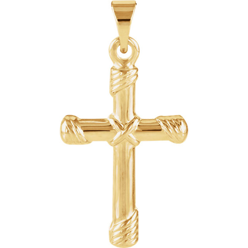 1kt Yellow Gold 18mm Cross Pendant with Rope Accents