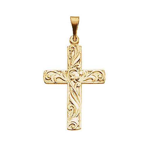 14KY Gold Cross Pendant 20.5x15mm