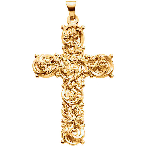 14k Yellow Gold Ornate Floral Cross Pendant 1 1/2in