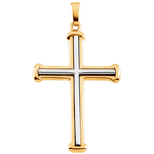 14kt Two-tone Gold 1 3/8in Cross