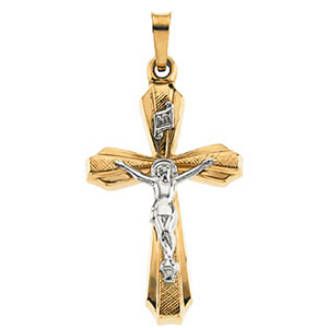 14kt Two Tone Gold 1in Hollow Crucifix
