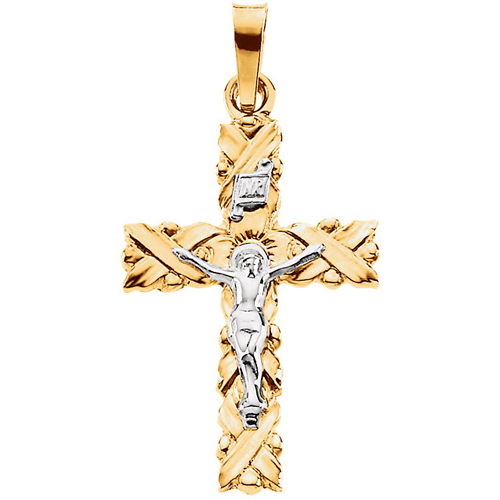 Crucifix 34.5x23.5mm - 14kt Two Tone Gold