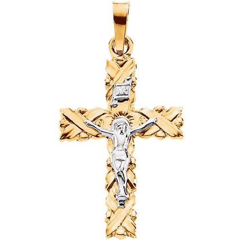 Crucifix 22x15.5mm - 14kt Two Tone Gold