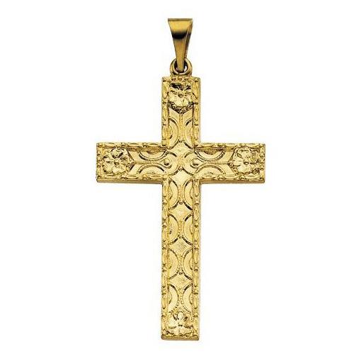 14KY Gold Cross Pendant 31.5x20mm