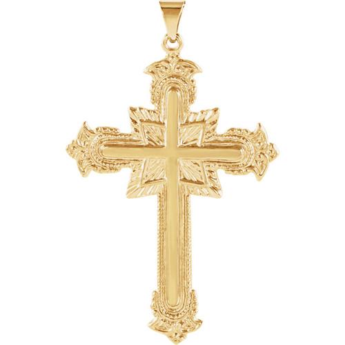 14kt Yellow Gold 1 3/4in Fancy Budded Cross