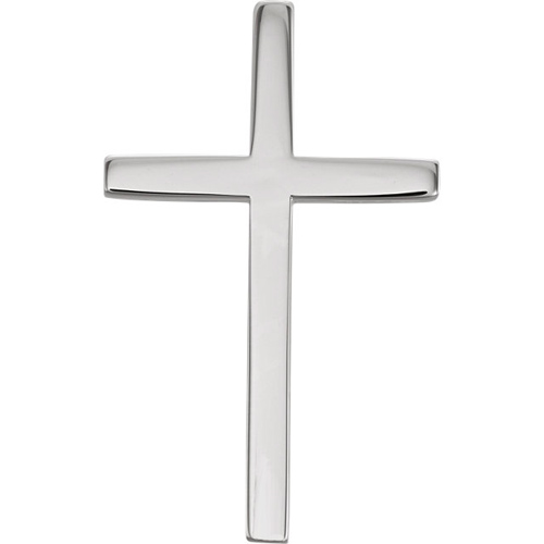 14kt White Gold 7/8in Smooth Classic Cross with Hidden Bail