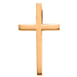 14kt Yellow Gold 1in Smooth Classic Cross with Hidden Bail
