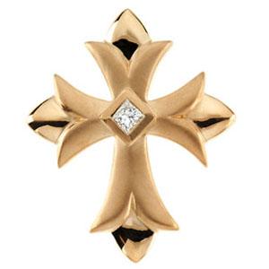 14kt Yellow Gold 1/10 ct Diamond Cross