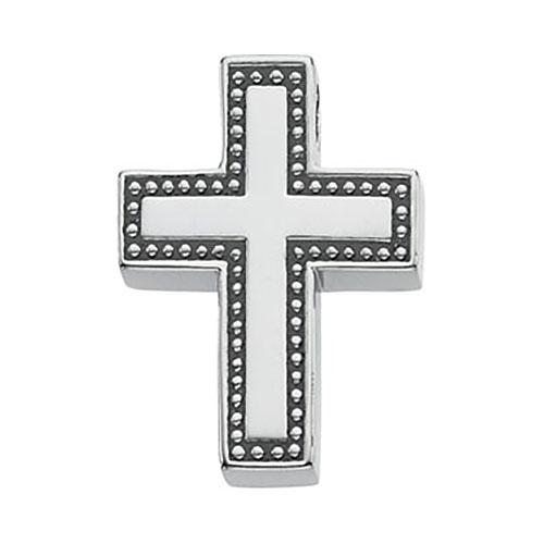 Sterling Silver 3/4in Beaded Cross Slide Pendant