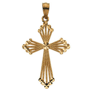 14kt Yellow Gold 1 1/8in Fancy Beaded Passion Cross