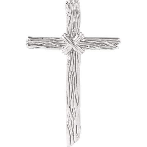Sterling Silver 2in Woodgrain Cross
